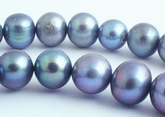 36 Large Shiny Cadet Grey Pearls - 11mm