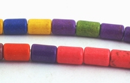Colorful Rainbow Turquoise Tube Beads